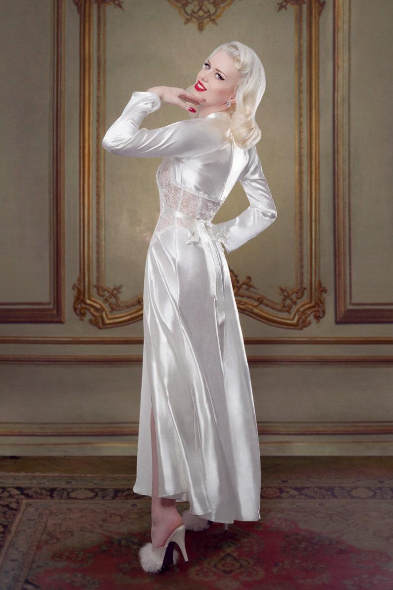 0b0dcd4537 Bridal Robe Ivory Silk Dressing Gown Inspired by Marilyn