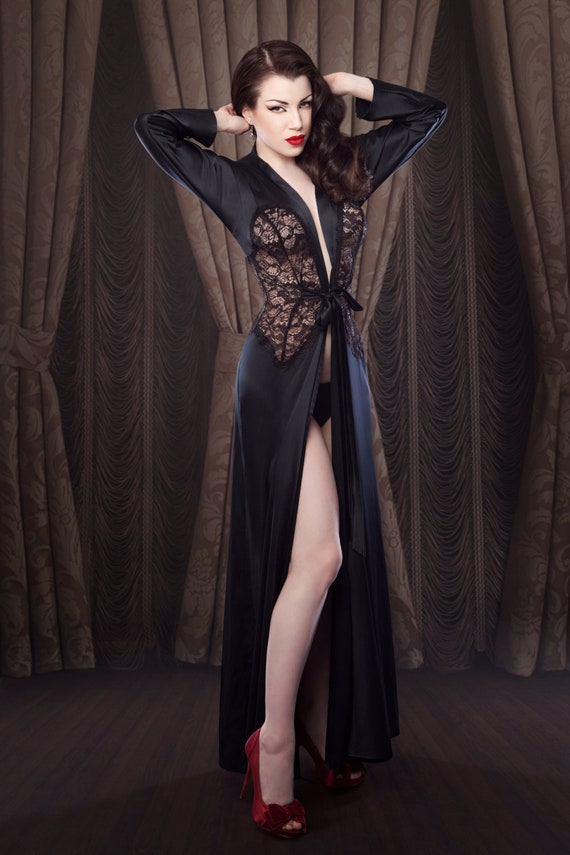 Women\'s Dressing Gown Black Robe/Dressing Gown inspired   Etsy