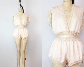 1d3640e222 vintage teddy romper   1980s pink satin and lace romper   silk lingerie  onesie   sleepwear lingerie   vintage wedding   shorts romper teddy