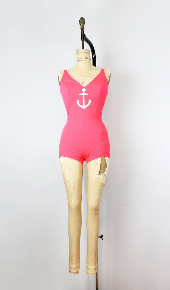 vintage 70s swimsuit / 1970s novelty anchor swims… - image 2