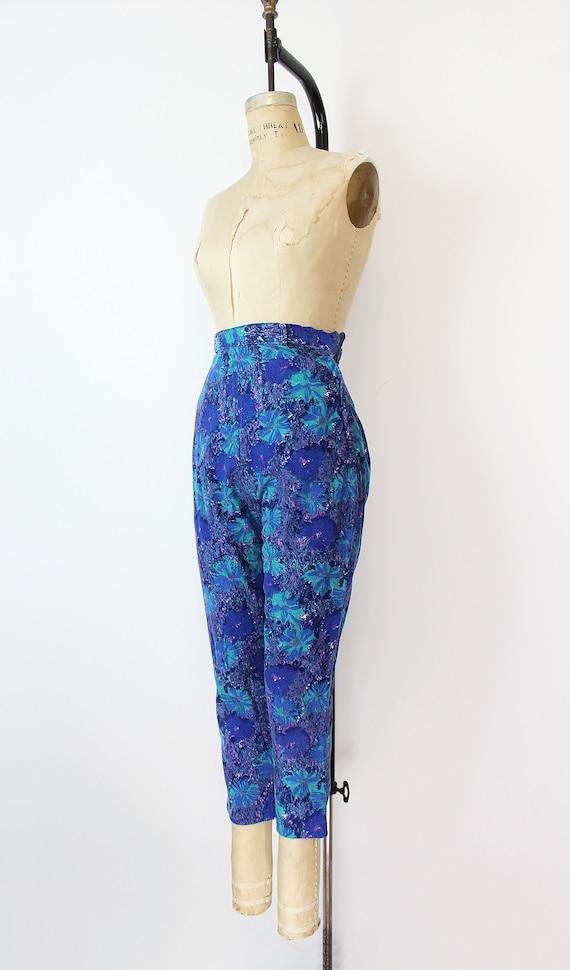 vintage 50s pants / 1950s floral corduroy pants /… - image 3