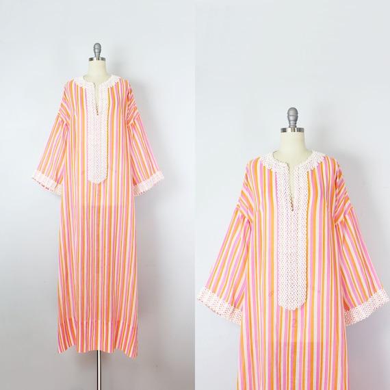 vintage 70s caftan / 1970s striped cotton caftan d