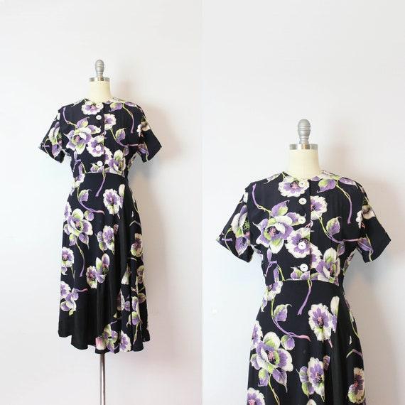 vintage 40s dress / 1940s floral rayon dress / dar