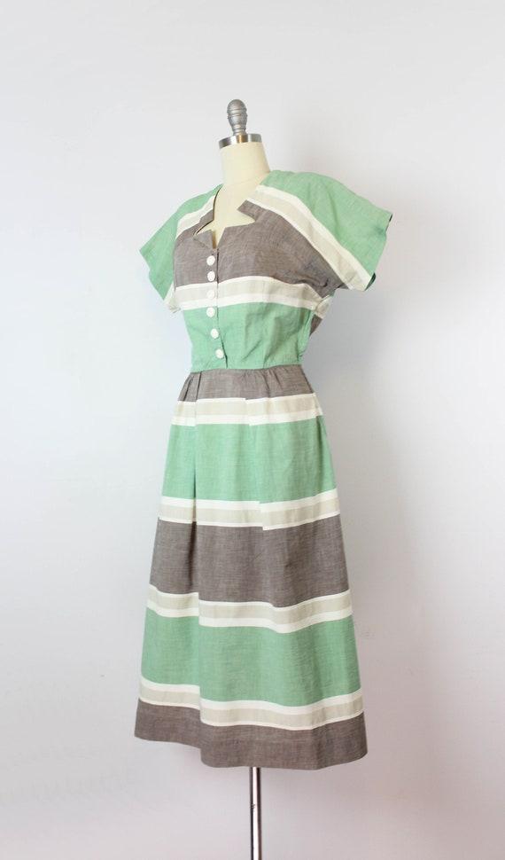 vintage 40s dress / 1940s striped cotton dress / … - image 3