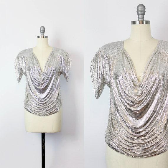 vintage metal mesh shirt / 1980s WHITING and DAVIS