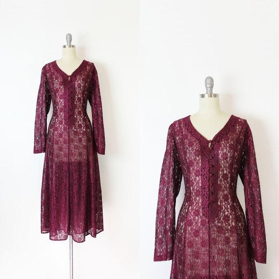 vintage 90s dress / 1990s sheer lace dress / dark