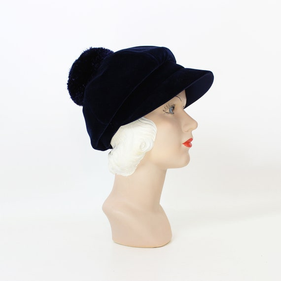 vintage 60s hat / 1960s velvet pom pom hat / navy