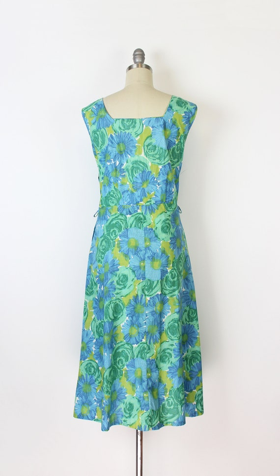 vintage 50s dress / 1950s floral sundress / blue … - image 4
