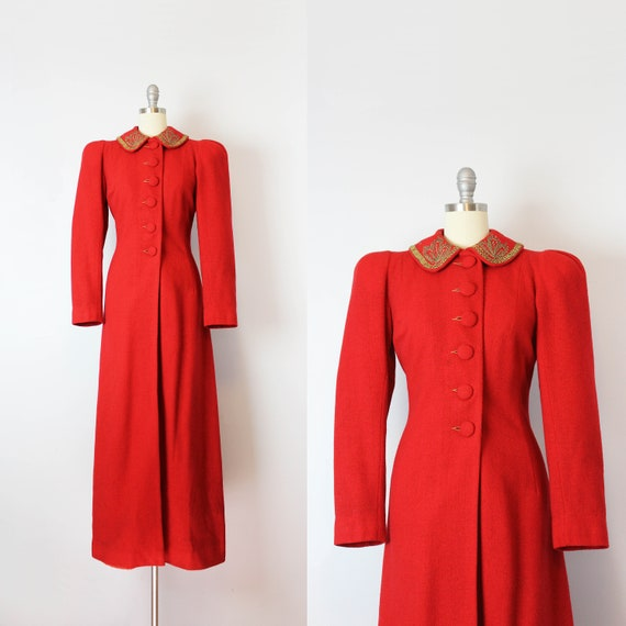 vintage 40s coat / 1940s red wool coat / long wool