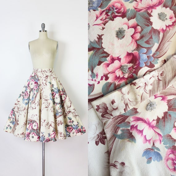 vintage 50s skirt / 1950s beaded floral skirt / fl