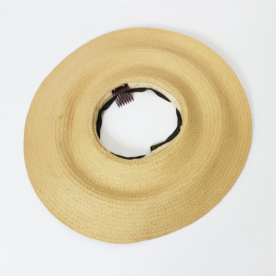 vintage 40s hat / 1940s straw sun hat / 1940s ope… - image 8