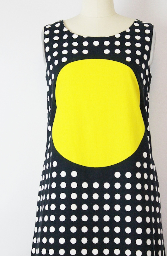 vintage 60s MARIMEKKO dress / 1960s graphic print maxi dress / bold yellow  black polka dot dress / suomi finland dress / rare 60s dress