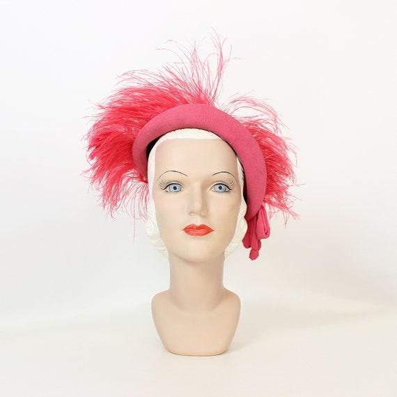 vintage 40s hat / 1940s ostrich feather hat / 1940