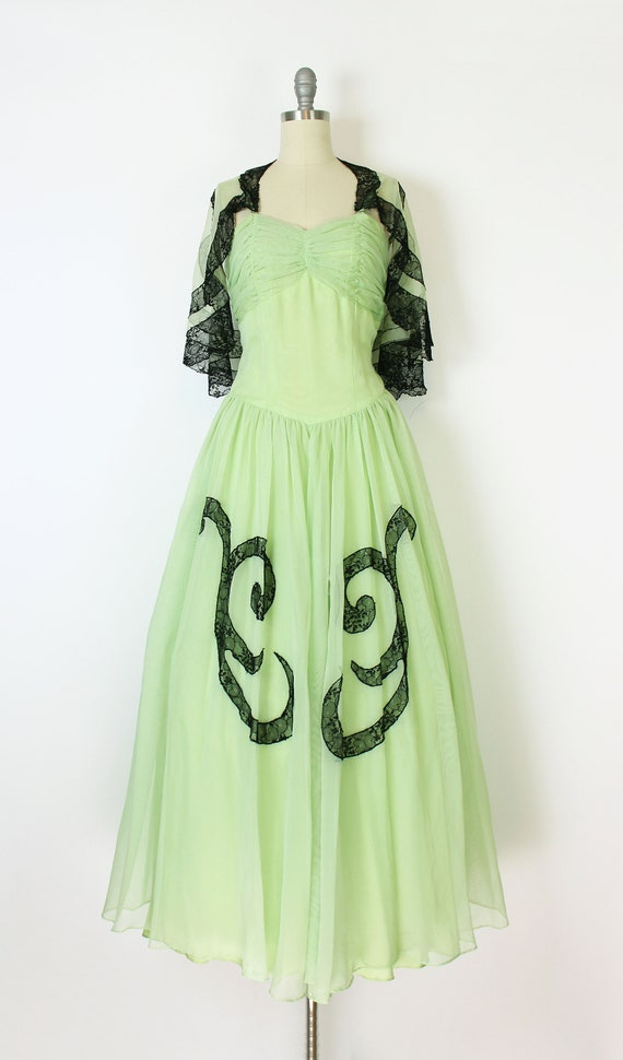 vintage 40s dress set / 1940s green dress shawl /… - image 2