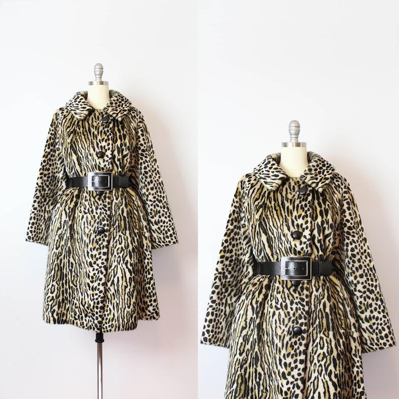 5d642d14bfd3 Vintage 60s leopard print coat / 1960s faux fur leopard coat /   Etsy