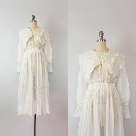 antique white cotton dress / 1910s lawn dress / Ed