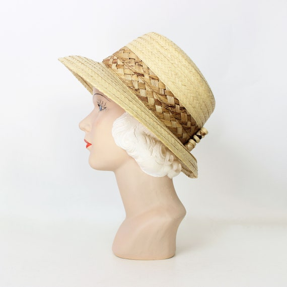 vintage straw sun hat / 1980s natural straw summe… - image 3