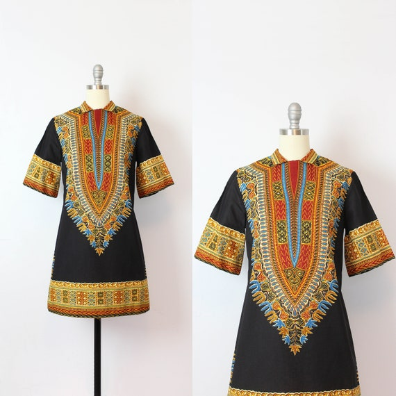 vintage 70s dress / 1970s dashiki print dress / Af