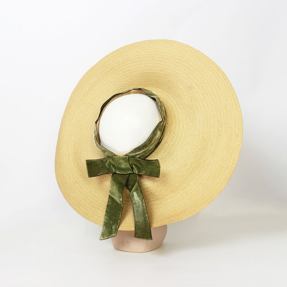 vintage 40s hat / 1940s straw sun hat / 1940s ope… - image 1