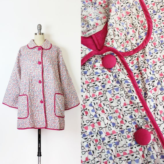 vintage 50s house coat / 1950s novelty print house