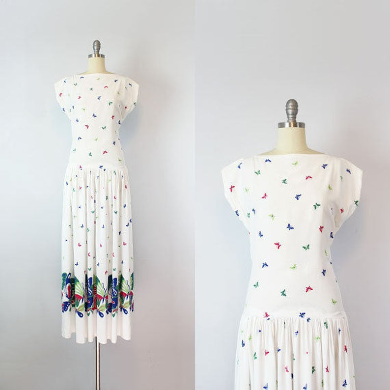 dd9e6d7774f Vintage 40s butterfly maxi dress   1940s novelty print dress
