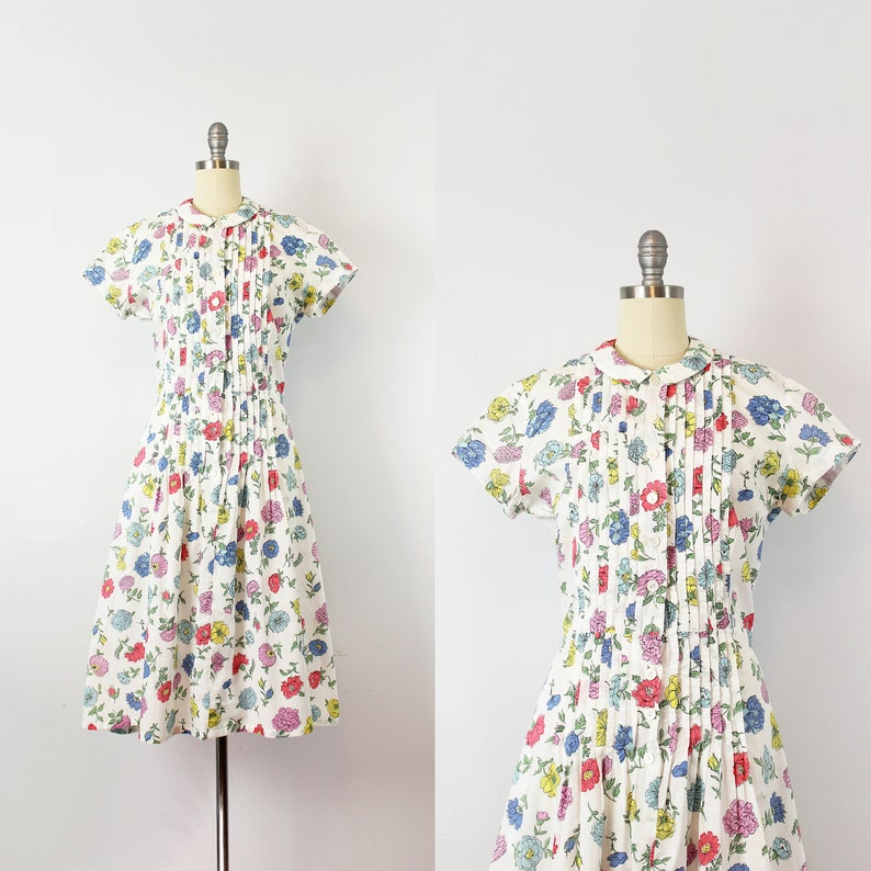 ca9cc238f60 Vintage 40s dress   1940s floral cotton dress   forties day