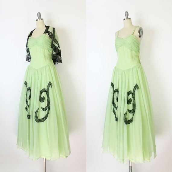 vintage 40s dress set / 1940s green dress shawl /… - image 4