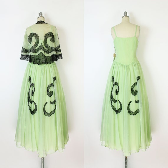vintage 40s dress set / 1940s green dress shawl /… - image 5