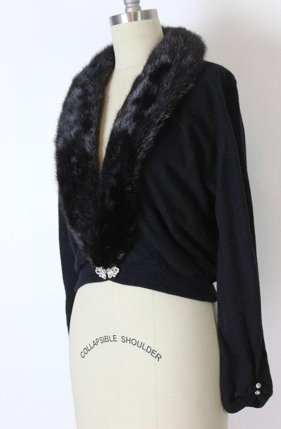 vintage 50s cardigan / 1950s cashmere fur collar … - image 6