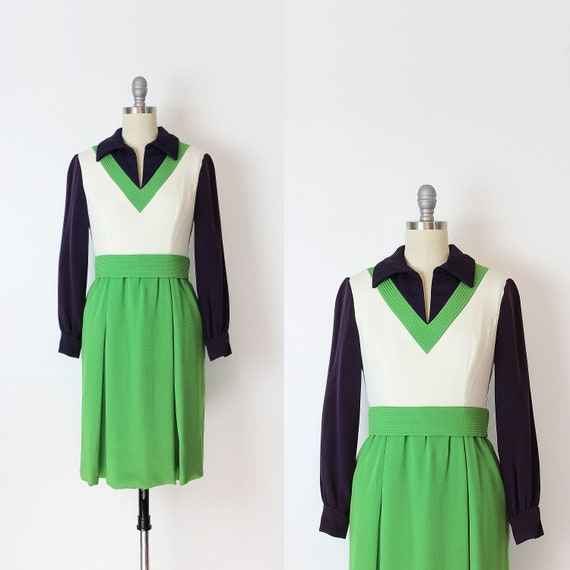 vintage 60s dress / 1960s mod dress / mod color bl