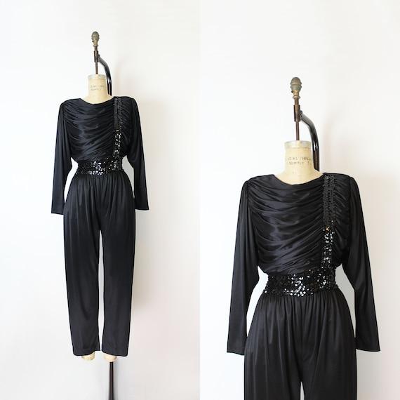 vintage 80s jumpsuit / 1980s black sequin jumpsuit