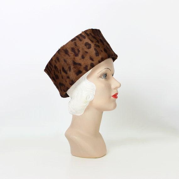 vintage 60s hat / 1960s faux leopard fur hat / leo