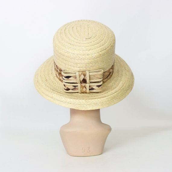 vintage straw sun hat / 1980s natural straw summe… - image 4
