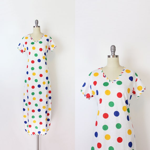 vintage 70s rainbow dress / 1970s rainbow polka do