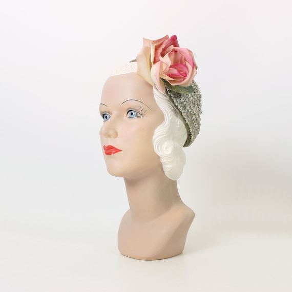 vintage 50s hat / 1950s floral straw hat / large f