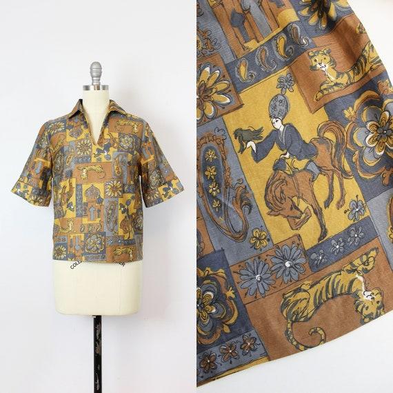 vintage 60s novelty print shirt / 1960s Indian ani
