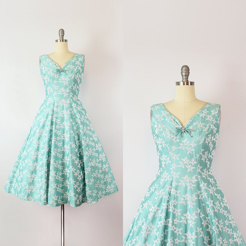 d6be63d0421 Vintage 50s dress   1950s aqua blue star embroidered dress
