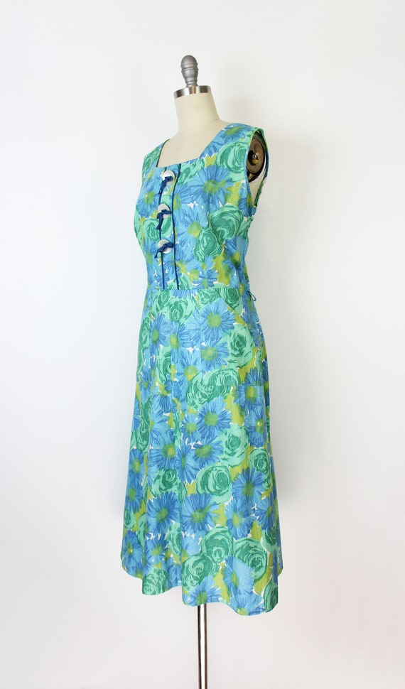 vintage 50s dress / 1950s floral sundress / blue … - image 3