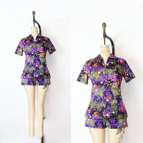 vintage 60s 70s set / 1960s 1970s top shorts set /