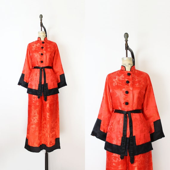 vintage 40s loungewear set / 1940s Chinese silk sa