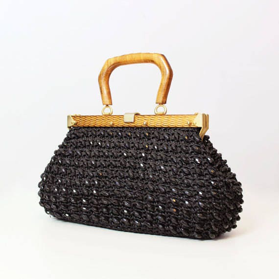 vintage 60s woven straw bag / 1960s black beaded p