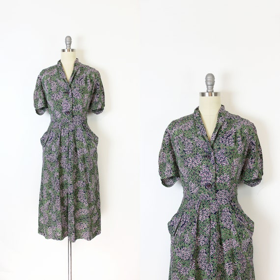 vintage 40s dress / 1940s novelty print dress / 19