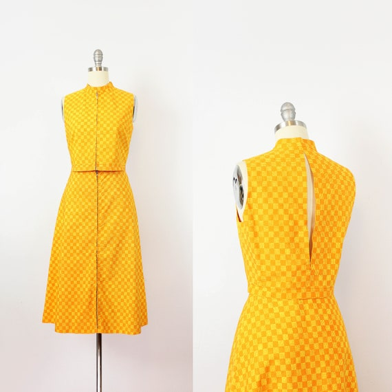 vintage 1960s MARIMEKKO vest skirt set / 1960s mod