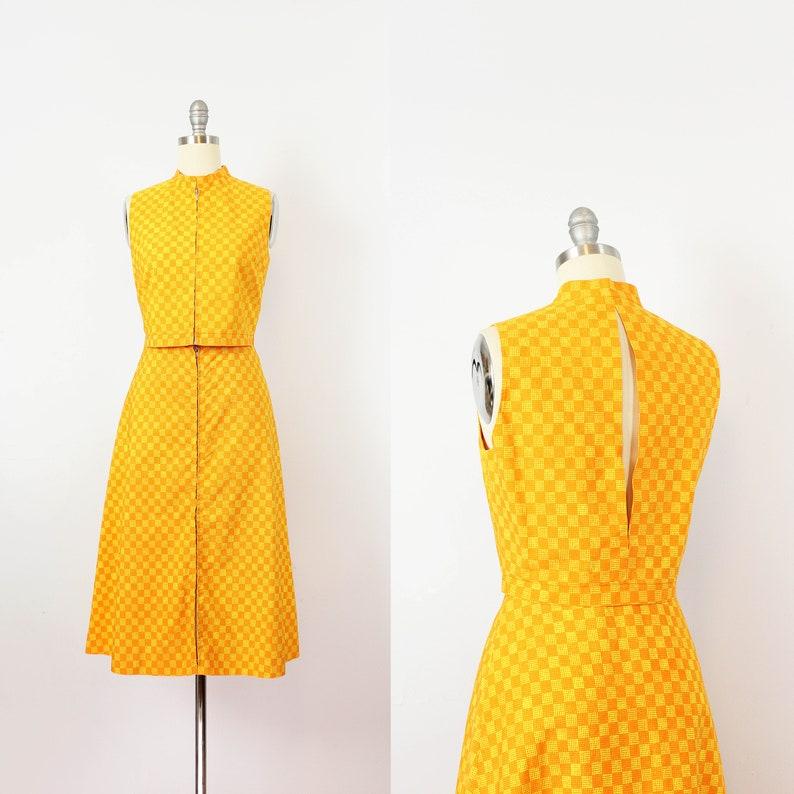 549470a3150a Vintage 1960s MARIMEKKO vest skirt set / 1960s mod orange top   Etsy