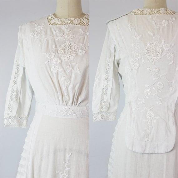 antique white cotton dress / 1910s lawn dress / E… - image 5