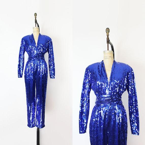 vintage 80s jumpsuit / 1980s sequin jumpsuit / blu