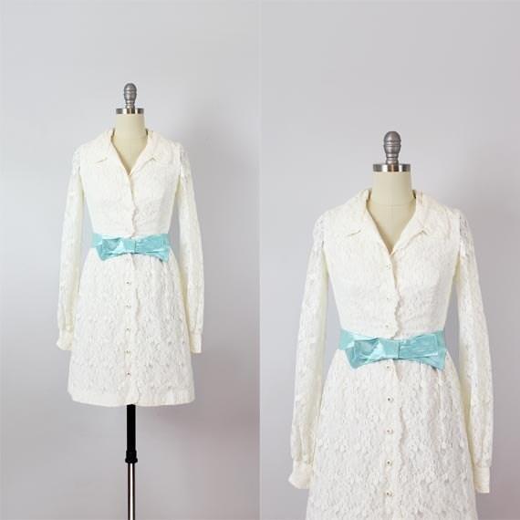 finest selection e7c0e 91070 abito vintage anni 60 / mini abito in pizzo bianco degli anni 1960 / 60s  mod matrimonio abito corto bianco pizzo abito / vestito camicia di pizzo