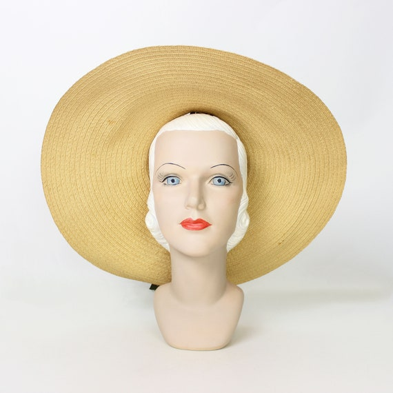 vintage 40s hat / 1940s straw sun hat / 1940s ope… - image 4