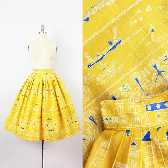 vintage 1950s novelty print skirt / 1950s yellow s