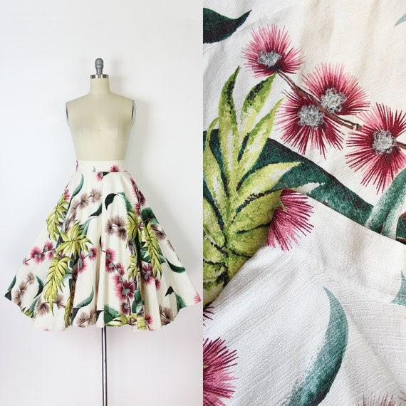 vintage 50s skirt / 1950s barkcloth floral skirt /